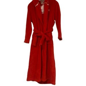 Victoria's Secret long red plush bath hoodie robe
